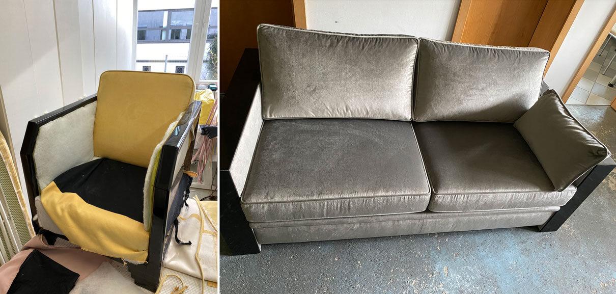 Komplettüberarbeitung von Bezug und Polsterung eines Sofas und Sessels; Vorher Nachher Bilder