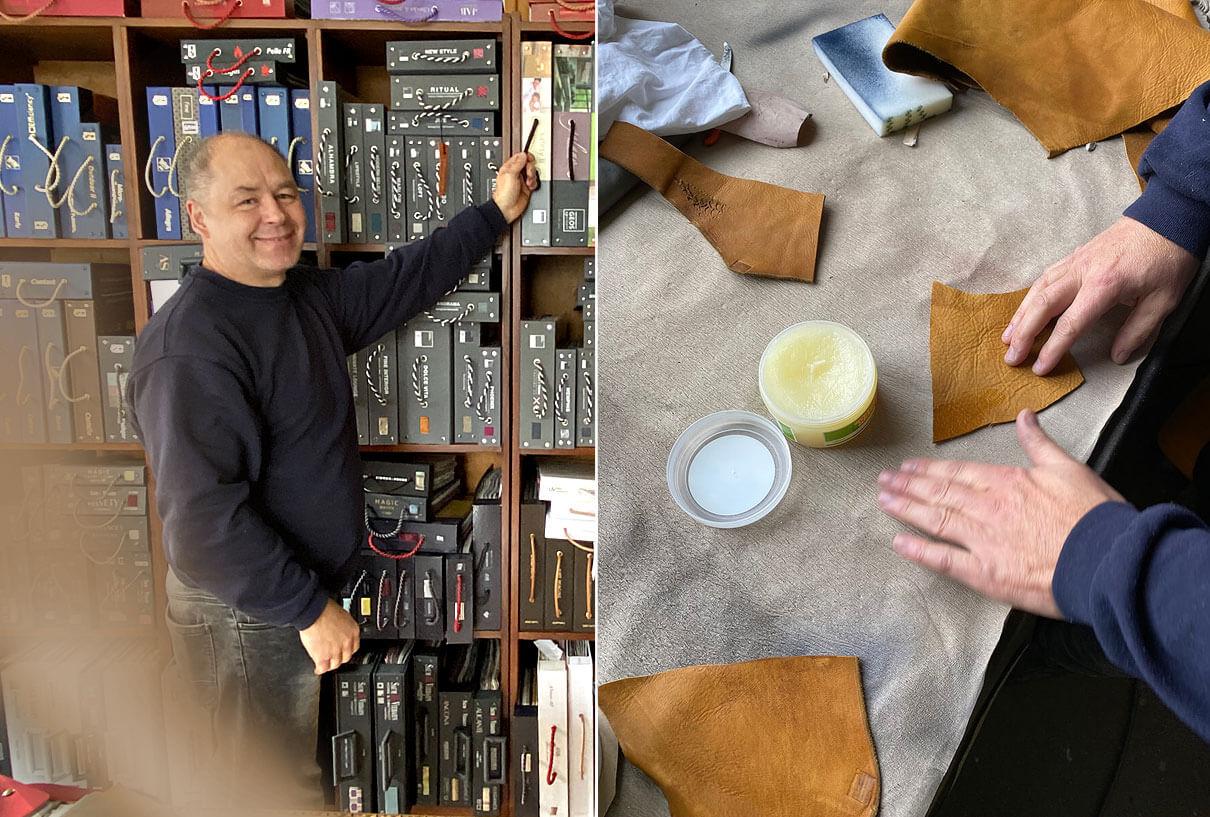 raumideen Polsterer Norbert Posor vor Musterwand und bei der Lederbearbeitung in seiner Werkstatt