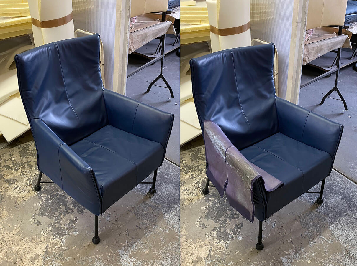Blauer Sessel mit neuem Lederbezug