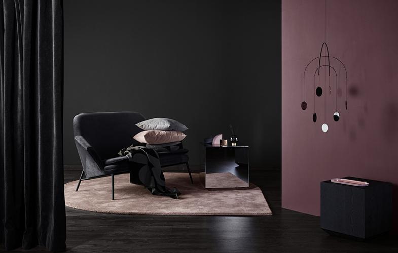 AYTM Stilla Teppich rose und Roto Mirror Mobile