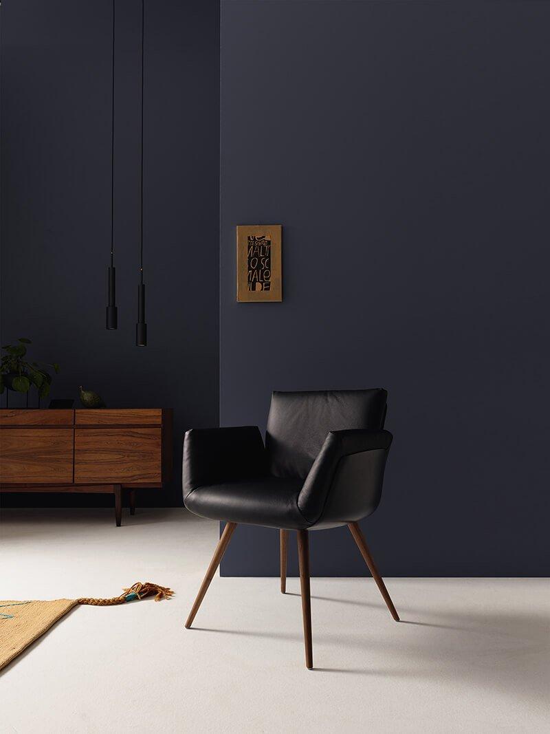 raumideen COR alvo Stuhl schwarz Leder