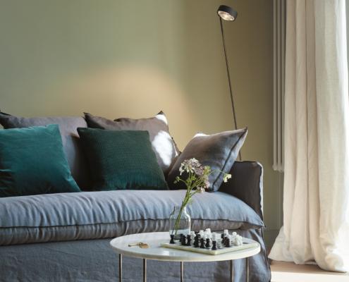 Stilwerkhotels Heimhude Zimmer 17 Sofa: Gervasoni Leuchte: occhio c stilwerk Foto: T. Baermann