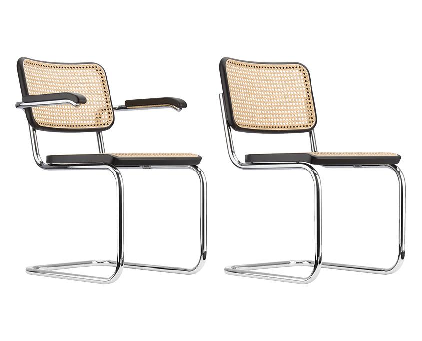S32 und S 64 Stuhl mit verchromtem Stahlrohrgestell von Thonet
